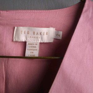 Ted Baker Pink Dress 3/4 Sleeve Size 2 w/ pockets